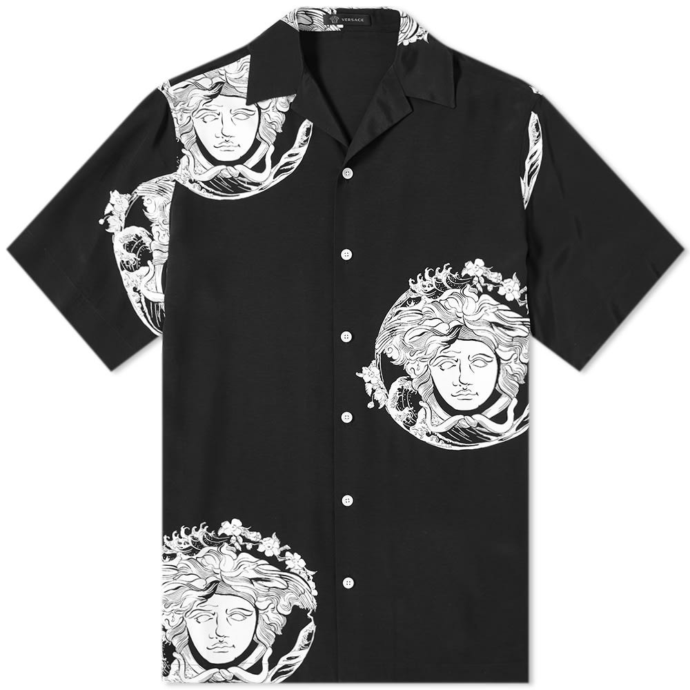 VERSACE ウェーブ ウェイブ & 【 WAVE JAPANESE MEDUSA VACATION SHIRT BLACK WHITE 】 メンズファッション トップス カジュアルシャツ 送料無料