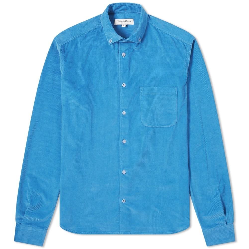 YMC ダウン 【 BUTTON DOWN DEAN BABY CORD SHIRT BLUE 】 メンズファッション トップス カジュアルシャツ 送料無料