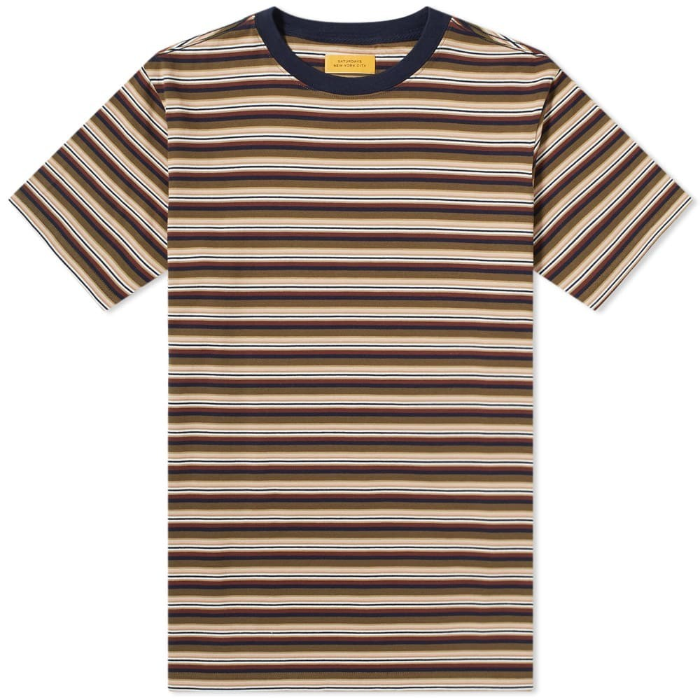 SATURDAYS NYC ストライプ Tシャツ メンズファッション トップス カットソー メンズ 【 Brandon Stripe Tee 】 Military Olive