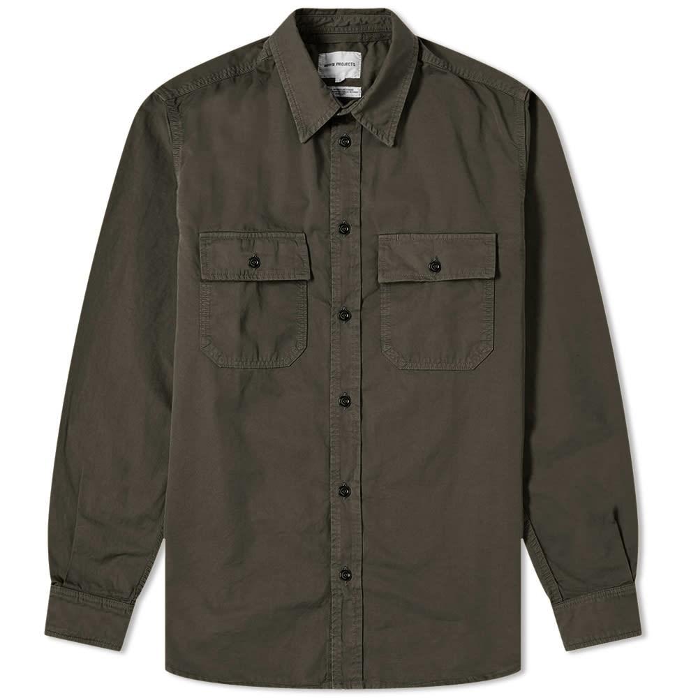 NORSE PROJECTS 【 VILLADS TWILL SHIRT BEECH GREEN 】 メンズファッション トップス カジュアルシャツ 送料無料