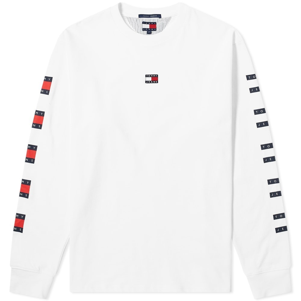 TOMMY JEANS スリーブ 【 SLEEVE LONG REPEAT FLAG TEE CLASSIC WHITE 】 メンズファッション ズボン パンツ 送料無料