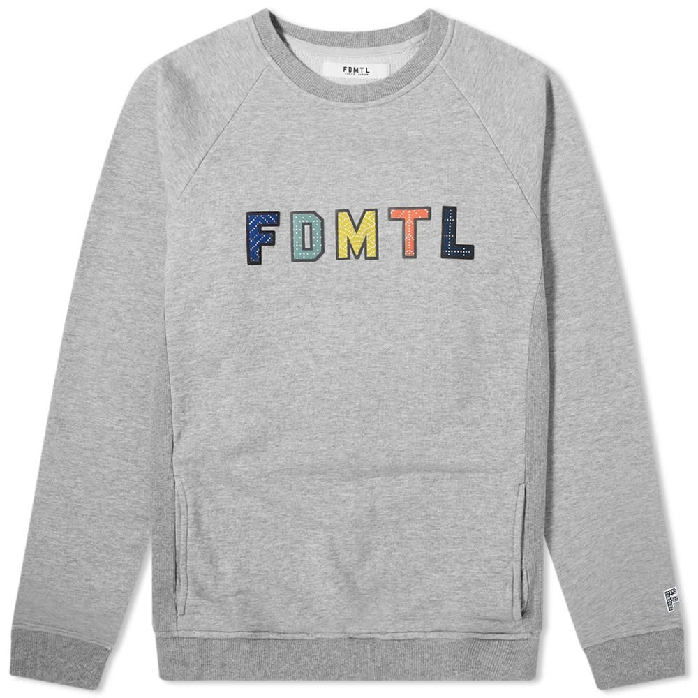FDMTL ロゴ スウェット メンズファッション トップス トレーナー メンズ 【 Sashiko Logo Crew Sweat 】 Grey