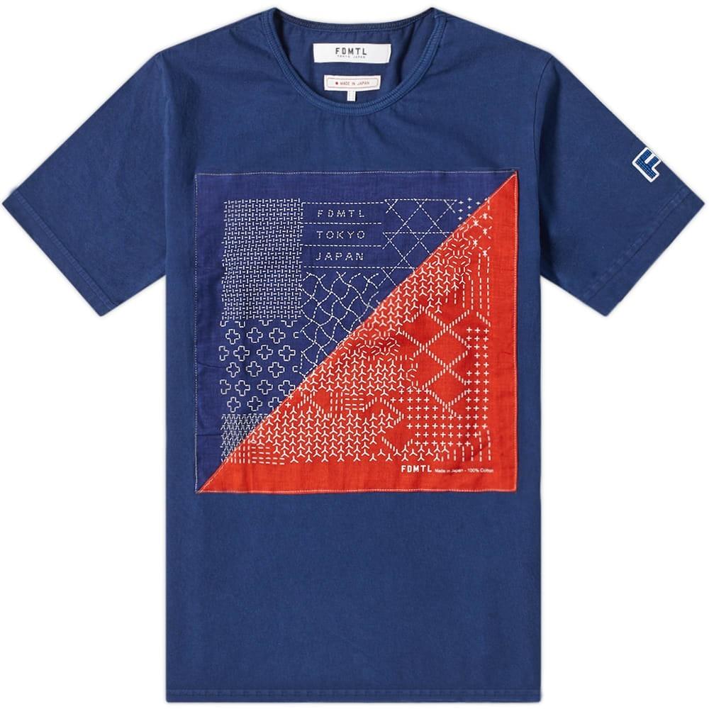 【スーパーセール中! 6/11深夜2時迄】FDMTL 藍色 インディゴ Tシャツ メンズファッション トップス カットソー メンズ 【 Indigo Bandana Tee 】 Indigo