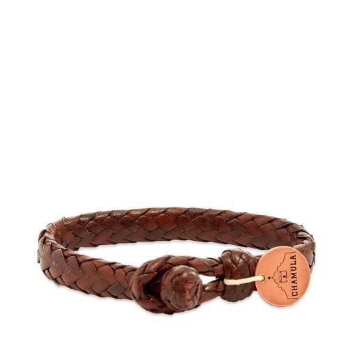 CHAMULA ブレスレット ジュエリー アクセサリー メンズジュエリー メンズ 【 Wide Flat Weaved Bracelet 】 Brown
