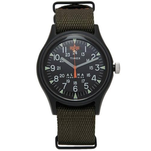 TIMEX タイメックス アルファ 黒 ブラック 緑 グリーン & 【 BLACK GREEN TIMEX X ALPHA INDUSTRIES MK1 ALUMINIUM 】 腕時計 メンズ腕時計