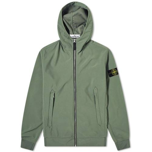 STONE ISLAND メンズファッション コート ジャケット メンズ 【 Lightweight Soft Shell-r Hooded Jacket 】 Olive