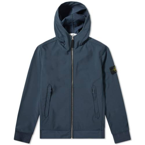 STONE ISLAND メンズファッション コート ジャケット メンズ 【 Lightweight Soft Shell-r Hooded Jacket 】 Blue Marine