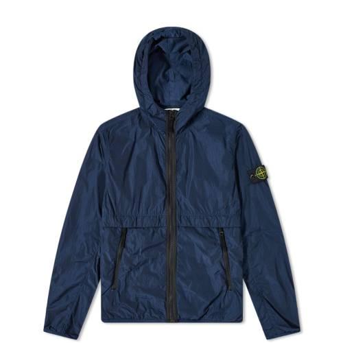 STONE ISLAND JUNIOR ナイロン メンズファッション コート ジャケット メンズ 【 Nylon Zip Hooded Jacket 】 Blue Marine