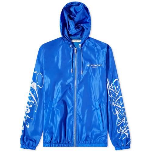 GIVENCHY ロゴ ウィンドブレーカー メンズファッション コート ジャケット メンズ 【 Amore Logo Windbreaker 】 Blue & White