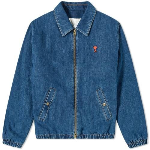 AMI デニム 青 ブルー 【 BLUE AMI A HEART DENIM HARRINGTON JACKET RINSED 】 メンズファッション コート ジャケット