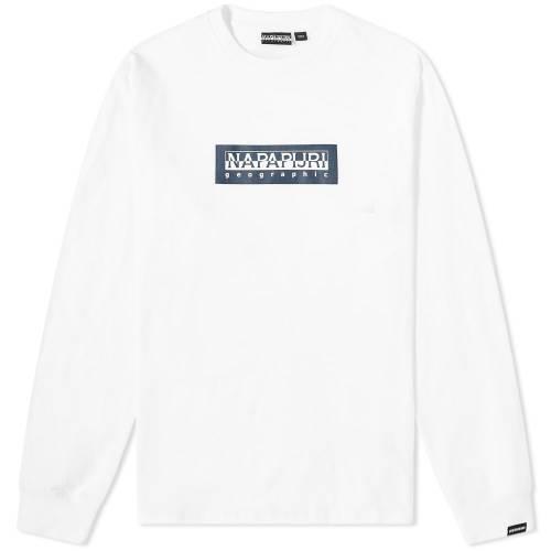 NAPAPIJRI スリーブ Tシャツ 白 ホワイト 【 SLEEVE WHITE NAPAPIJRI LONG SOX TEE BRIGHT 】 メンズファッション トップス Tシャツ カットソー
