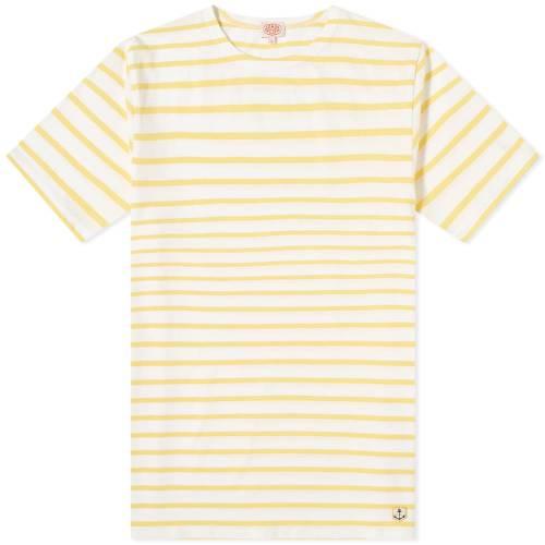 ARMOR-LUX Tシャツ 白 ホワイト & 【 WHITE ARMORLUX 73842 MARINIERE TEE BLONDE 】 メンズファッション トップス Tシャツ カットソー