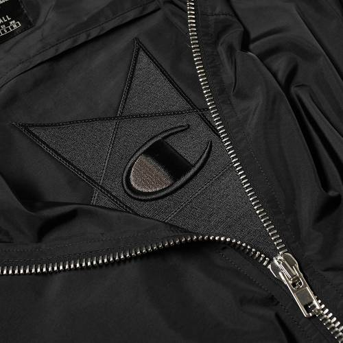 RICK OWENS チャンピオン リベンジ ウィンドブレーカー 黒 ブラックBLACK RICK OWENS X CHAMPION REVERSE WEAVE HOODED WINDBREAKERメンズファッション コート ジャケット8knwO0P