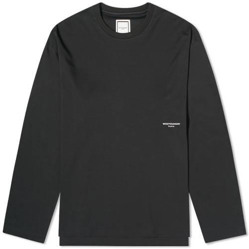 WOOYOUNGMI スリーブ ロゴ Tシャツ 黒 ブラック 白 ホワイト & 【 SLEEVE BLACK WHITE WOOYOUNGMI LONG BACK LOGO TEE 】 メンズファッション トップス Tシャツ カットソー