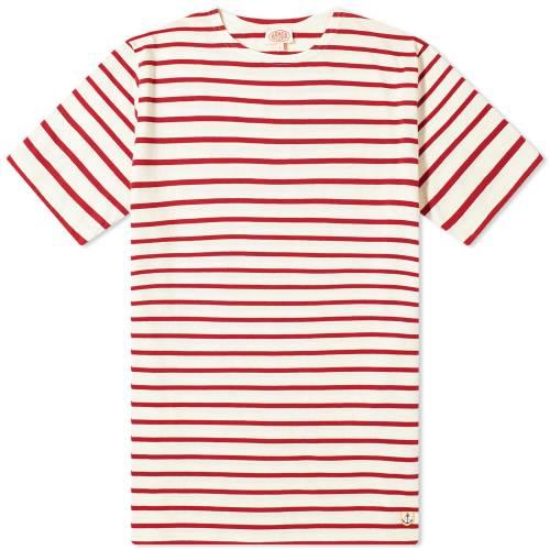 ARMOR-LUX Tシャツ ナチュラル 赤 レッド & 【 RED ARMORLUX HOEDIC MARINIERE TEE NATURAL 】 メンズファッション トップス Tシャツ カットソー