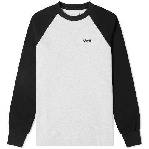 AIM・・ LEON DORE スリーブ ベースボール Tシャツ ヘザー GRAY灰色 グレイ 黒 ブラック AIM・・ & 【 SLEEVE HEATHER GREY BLACK LEON DORE LONG BASEBALL TEE 】 メンズファッション トップス Tシャツ カットソー