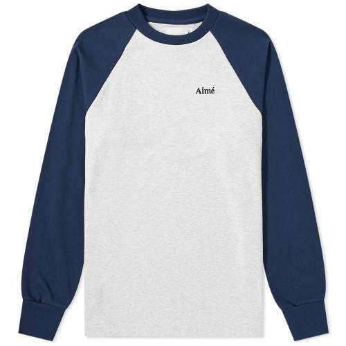 AIM・・ LEON DORE スリーブ ベースボール Tシャツ ヘザー GRAY灰色 グレイ AIM・・ & 【 SLEEVE HEATHER GREY LEON DORE LONG BASEBALL TEE MARITIME 】 メンズファッション トップス Tシャツ カットソー