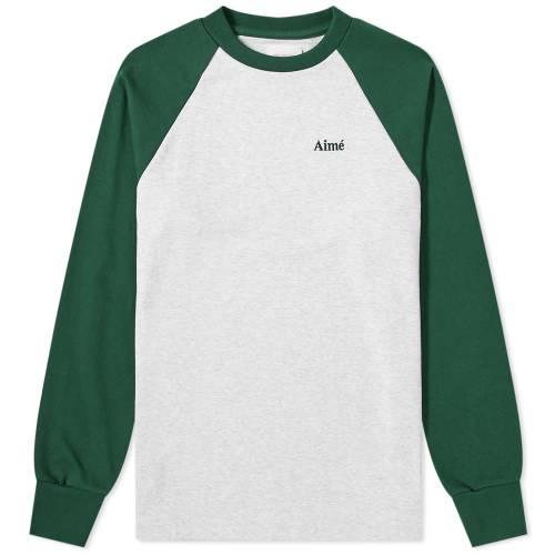 AIM・・ LEON DORE スリーブ ベースボール Tシャツ ヘザー GRAY灰色 グレイ AIM・・ & 【 SLEEVE HEATHER GREY LEON DORE LONG BASEBALL TEE EVERGREEN 】 メンズファッション トップス Tシャツ カットソー