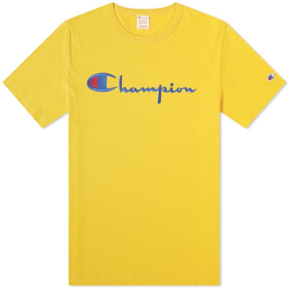 CHAMPION REVERSE WEAVE チャンピオン リベンジ スクリプト ロゴ 【 SCRIPT LOGO TEE YELLOW 】 メンズファッション トップス Tシャツ カットソー 送料無料