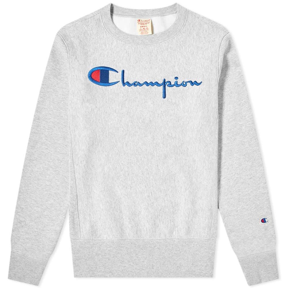 CHAMPION REVERSE WEAVE スクリプト ロゴ スウェット メンズファッション トップス トレーナー メンズ 【 Script Logo Crew Sweat 】 Grey Melange