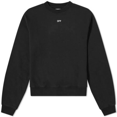 OFF-WHITE アロー スウェット 黒 ブラック 【 SWEAT BLACK OFFWHITE STENCIL ARROW CREW 】 メンズファッション トップス