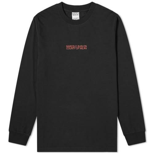 MARCELO BURLON スリーブ Tシャツ 黒 ブラック 【 SLEEVE BLACK MARCELO BURLON LONG ONE FACE TEE 】 メンズファッション トップス Tシャツ カットソー