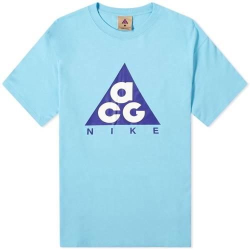 ナイキ NIKE ロゴ Tシャツ 青 ブルー フュージョン 紫 バイオレット & 【 BLUE FUSION NIKE ACG GIANT LOGO TEE GALE VIOLET 】 メンズファッション トップス Tシャツ カットソー