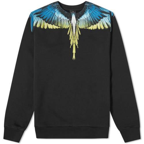 MARCELO BURLON スウェット 黒 ブラック & 【 SWEAT BLACK MARCELO BURLON WINGS SHOULDER CREW LIME 】 メンズファッション トップス