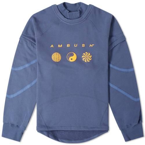 AMBUSH スウェット 青 ブルー 【 SWEAT BLUE AMBUSH PATCHWORK CREW 】 メンズファッション トップス