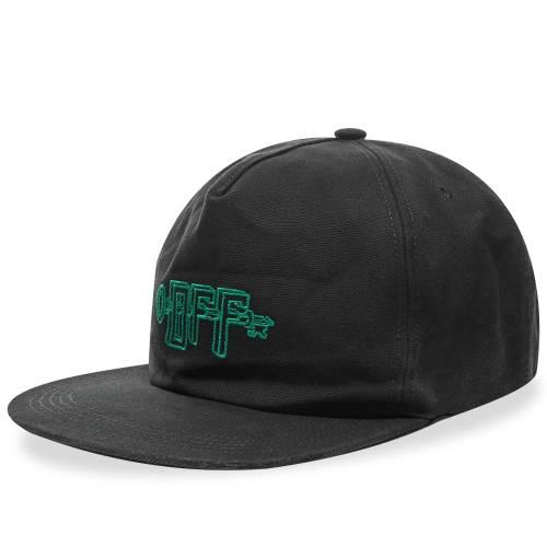 OFF-WHITE キャップ キャップ 帽子 黒 ブラック 緑 グリーン & 【 BLACK GREEN OFFWHITE UNIVERSAL KEY 5 PANEL CAP 】 バッグ  キャップ 帽子 メンズキャップ 帽子