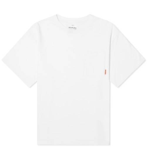 ACNE STUDIOS ピンク Tシャツ 白 ホワイト 【 PINK WHITE ACNE STUDIOS EXTORR POCKET LABEL TEE OPTIC 】 メンズファッション トップス Tシャツ カットソー