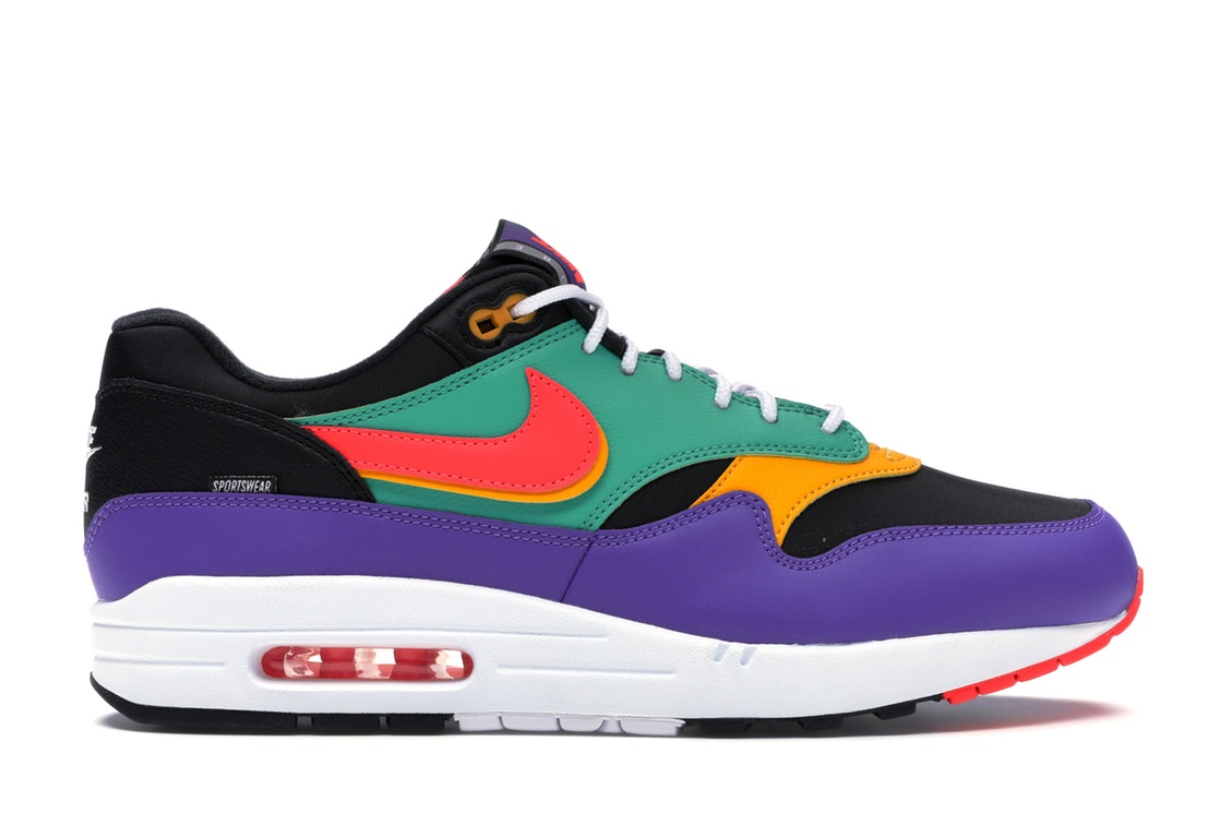 ナイキ NIKE エアー マックス スニーカー 【 AIR MAX 1 WINDBREAKER BLACK FLASH CRIMSONKINETIC GREENPSYCHIC PURPLEUNIVERSITY GOLDWHITE 】 メンズ 送料無料