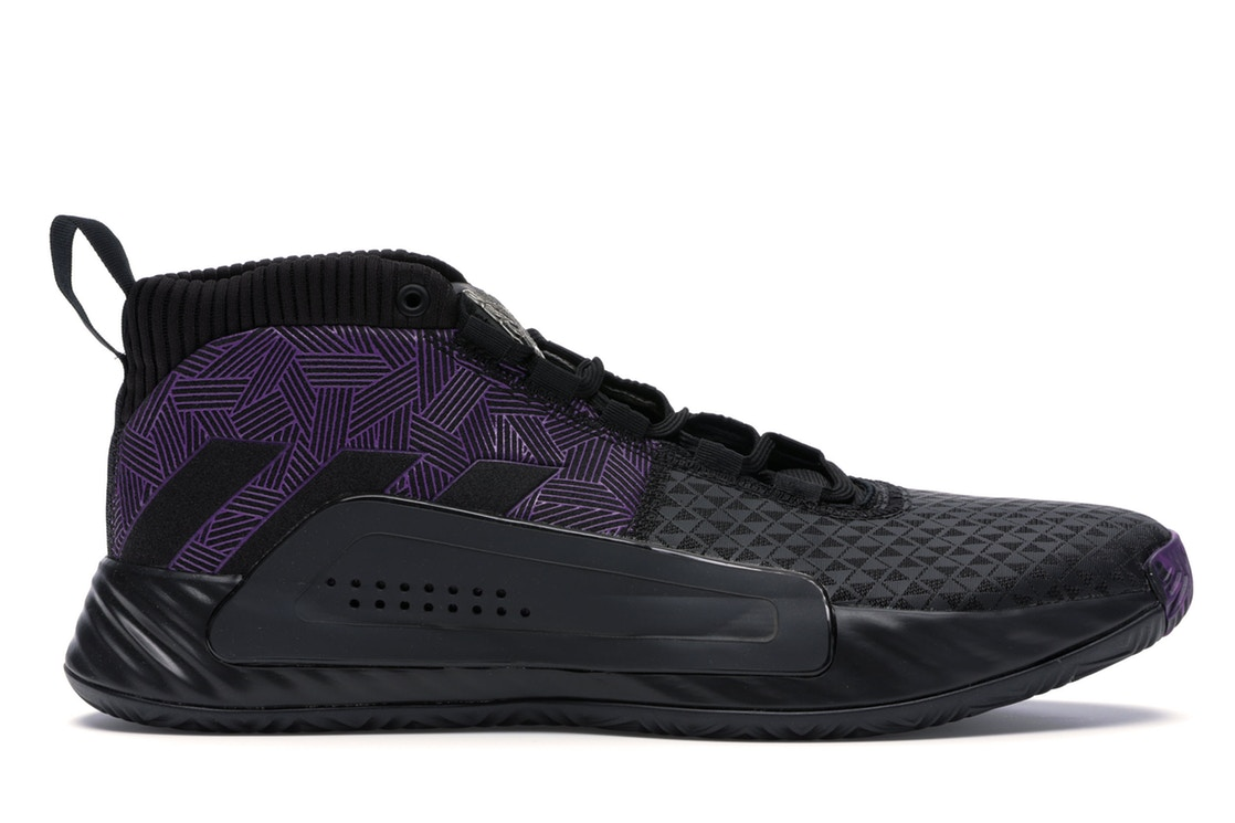 アディダス ADIDAS 黒 ブラック スニーカー 【 BLACK DAME 5 MARVEL PANTHER CORE ACTIVE PURPLE SILVER METALLIC 】 メンズ
