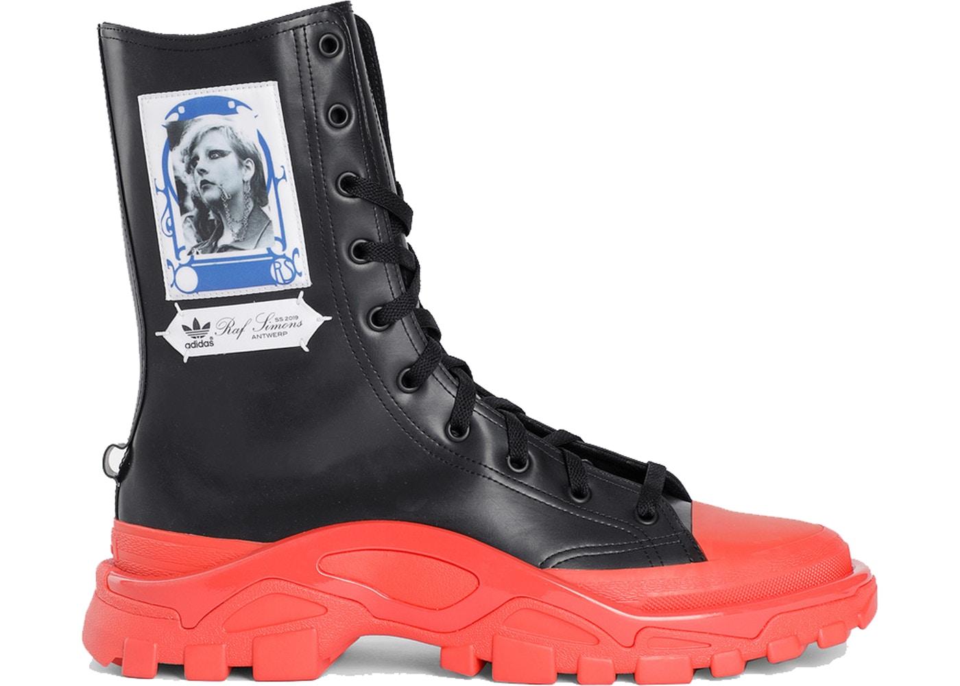 アディダス ADIDAS デトロイト ハイ 黒 ブラック スニーカー 【 BLACK DETROIT HIGH RAF SIMONS RED 】 メンズ 送料無料