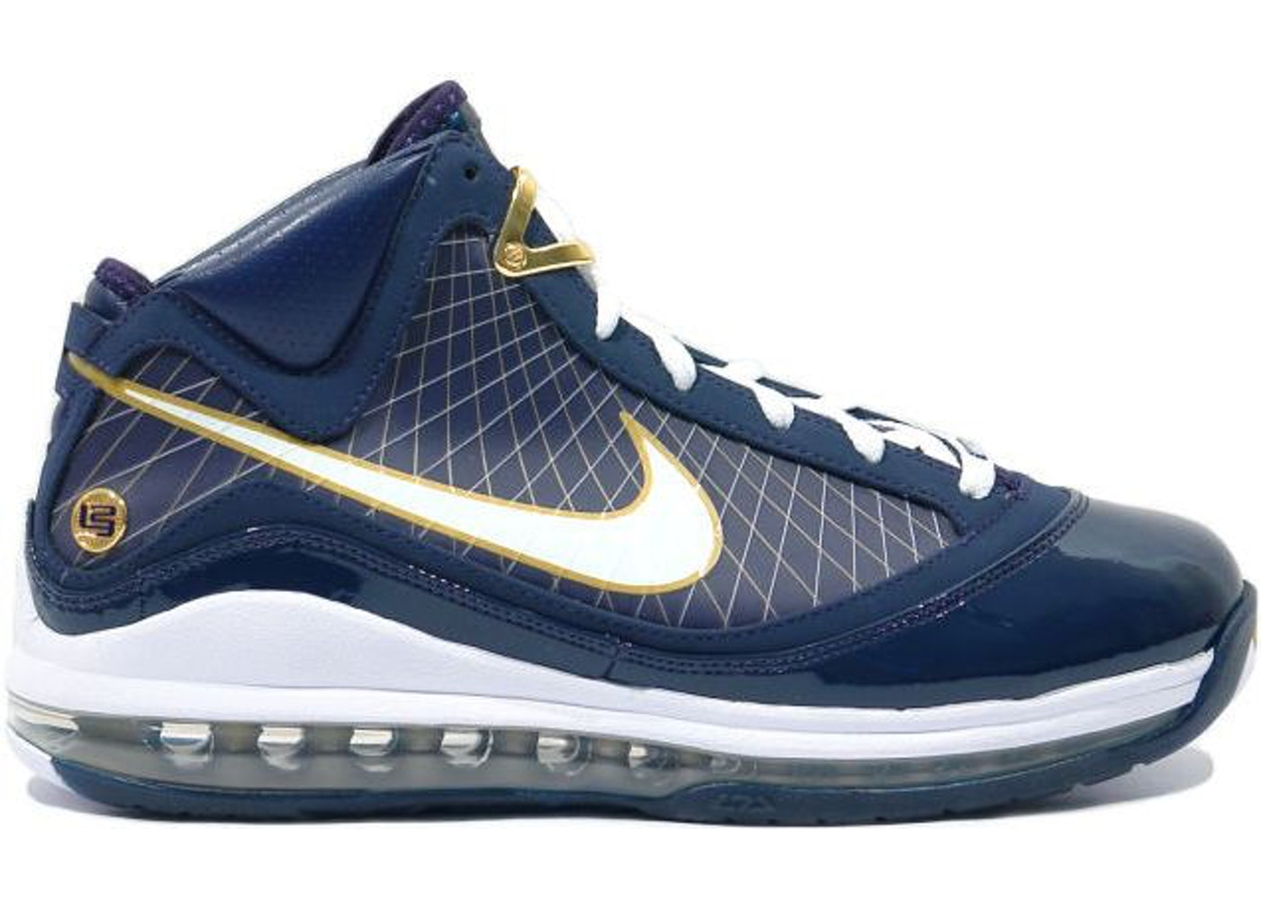 ナイキ NIKE レブロン スニーカー 【 LEBRON 7 UNIVERSITY OF AKRON MIDNIGHT NAVY WHITEMETALLIC GOLD 】 メンズ