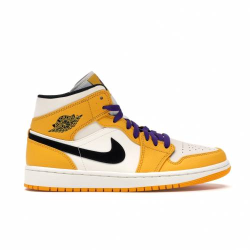 ナイキ ジョーダン JORDAN ミッド スニーカー 【 1 MID SE LAKERS UNIVERSITY GOLD BLACKPALE IVORYCOURT PURPLESAIL 】 メンズ