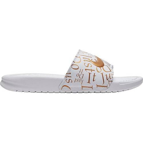 ナイキ NIKE レディース ベナッシ サンダル スニーカー 【 Womens Benassi Just Do It Print Slides 】 White/gold Metallic