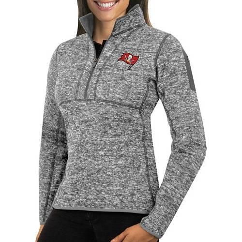 【★スーパーセール中★ 6/11深夜2時迄】ANTIGUA レディース バッカニアーズ Gray灰色 グレイ 【 Womens Tampa Bay Buccaneers Fortune Grey Pullover Jacket 】 Color