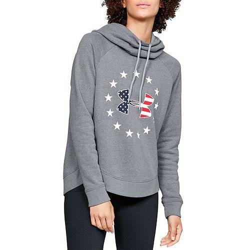 アンダーアーマー UNDER ARMOUR レディース ロゴ フリース レディースファッション トップス パーカー 【 Womens Freedom Logo Favorite Fleece Hoodie 】 Steel Light Heather/white