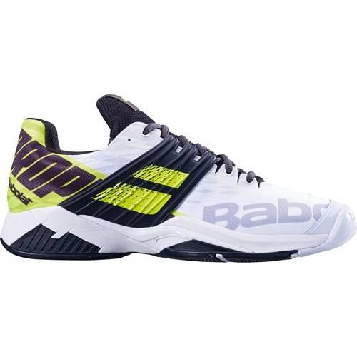 BABOLAT メンズ テニス スニーカー 運動靴 【 Mens Propulse Fury Tennis Shoes 】 White/volt