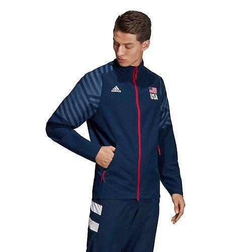 アディダス ADIDAS メンズ バレーボール ウォームアップ メンズファッション コート ジャケット 【 Mens Usa Volleyball Warm-up Jacket 】 Colg Nvy/wh/mnl Bl/pwr Rd