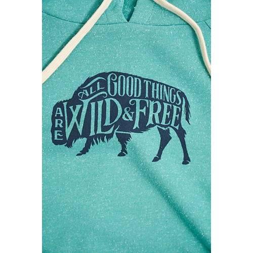 UNITED BY BLUE レディース ワイルド フリー レディースファッション トップス パーカー 【 Womens Wild And Free Pullover Hoodie 】 Sea Green