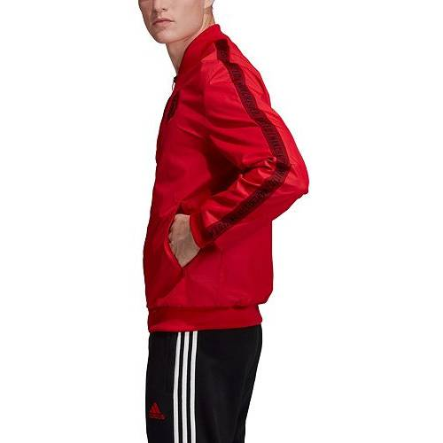 アディダス ADIDAS メンズ 赤 レッド メンズファッション コート ジャケット 【 Mens Manchester United Anthem Red Full-zip Jacket 】 Color