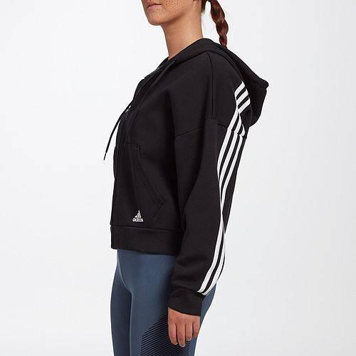アディダス ADIDAS レディース レディースファッション トップス パーカー 【 Womens Must Have 3-stripes Full Zip Hoodie 】 Black/white