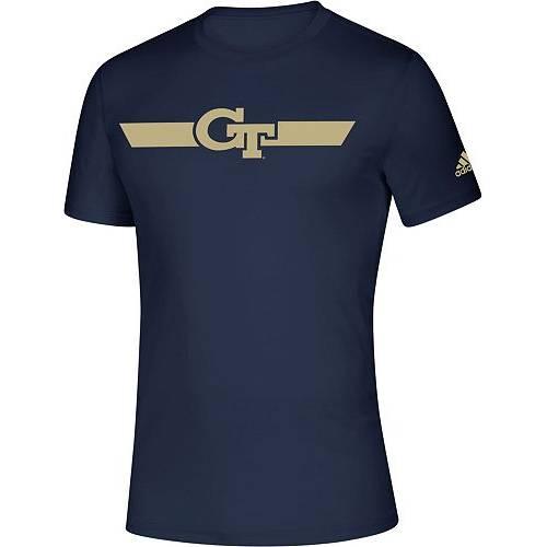 アディダス ADIDAS メンズ テック 黄色 イエロー 紺 ネイビー ストライプ サイドライン Tシャツ メンズファッション コート ジャケット 【 Mens Georgia Tech Yellow Jackets Navy Locker Stripe Sideline T-sh