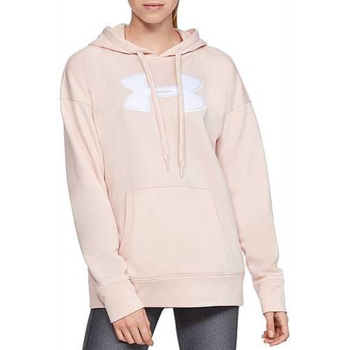 アンダーアーマー UNDER ARMOUR レディース フリース ロゴ レディースファッション トップス パーカー 【 Womens Synthetic Fleece Chenille Logo Hoodie 】 Apex Pink/white