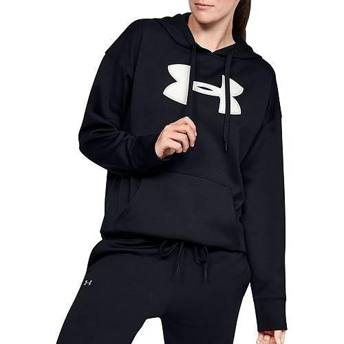 アンダーアーマー UNDER ARMOUR レディース フリース ロゴ レディースファッション トップス パーカー 【 Womens Synthetic Fleece Chenille Logo Hoodie 】 Black/onyx White