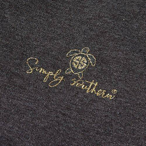 SIMPLY SOUTHERN レディース レディースファッション トップス パーカー 【 Womens Plaid Turtle Hoodie 】 Dark Heather Grey