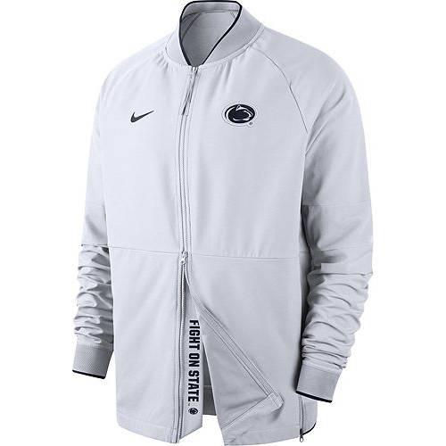 ナイキ NIKE メンズ スケートボード ライオンズ サーマ ハイブリッド 白 ホワイト メンズファッション コート ジャケット 【 Mens Penn State Nittany Lions Therma Hybrid Full-zip White Jacket 】 Color