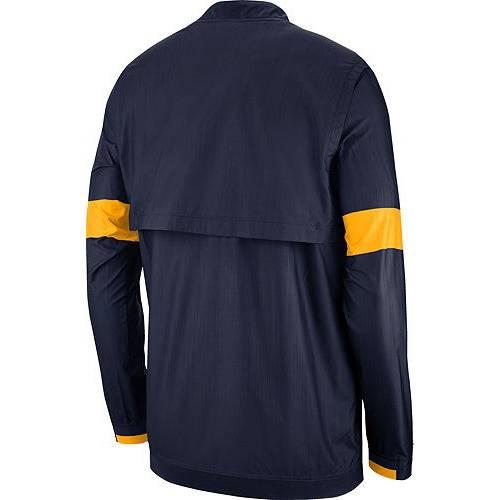 ナイキ NIKE メンズ バージニア 青 ブルー メンズファッション コート ジャケット 【 Mens West Virginia Mountaineers Blue Lockdown Half-zip Football Jacket 】 Color